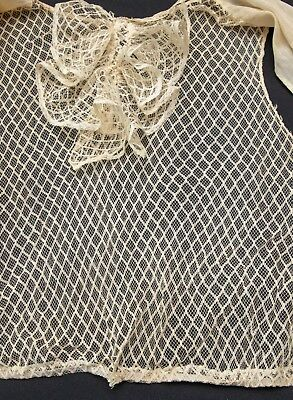 Fine Antique Lace Fabric Net Front on Bodice for Projects  - Dolls Etc.