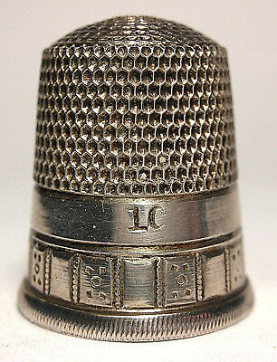 Simons Sterling Silver Two Band Thimble w/Repeating Squares or Dominoes  c.1890s