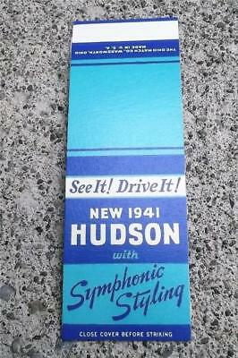 Vintage Matchbook Flat 1941 Hudson With Symphonic Styling ~ See It! Drive It!