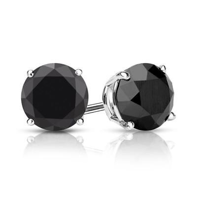2.00 CT Round Black Diamond Stud Earrings Real 14K Solid White Gold Screw Back