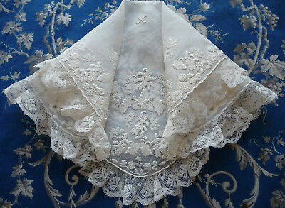 Antique19th C. French Bridal Handkerchief Stunning Embroidery Valenciennes Trim