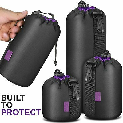 New Neoprene DSLR Camera Lens Pouch Protector Bag Case Set 4 Pack ZI