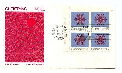 Canada FDC #557 Christmas Snowflakes 15c  Pl Block 1973 UL PL1  38-A