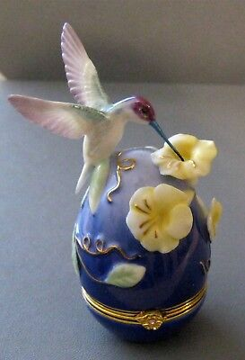House Of Faberge Violet Crowned Hummingbird Floral Trinket Box