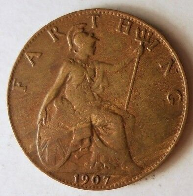 1907 GREAT BRITAIN FARTHING - AU - RARE DATE Coin - Lot #J12