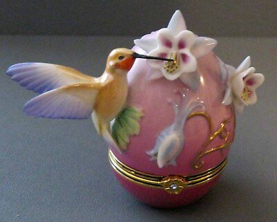House Of Faberge Rufous Hummingbird Floral Trinket Box