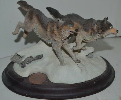Vintage Wolves Wood Figure Majestic Mark Newman Wilderness 2033/2500 Timber
