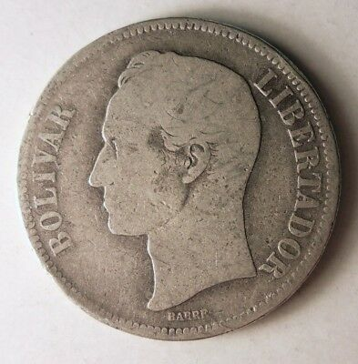 1886 VENEZUELA 5 BOLIVARES - Rare Early Date Silver Crown Coin - Lot #J12