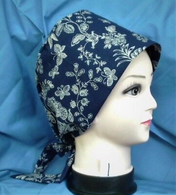 Handcrafted Ladies Women Surgical Scrub Cap Pixie Tie-Back Hat Hats Navy