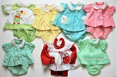 Vtg 1977 0-3 Months Dresses with Diaper Covers Green Yellow Blue Red Lot of 7