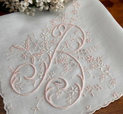 Fabulous Vintage Madeira Monogram B Hanky Encrusted with Embroidery