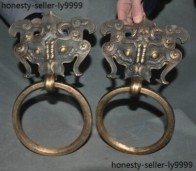 "A  13"" old China bronze beast face statue Door Latch Knocker pair"