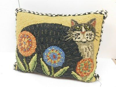 """Vintage Cat And Flowers Needlepoint Pillow Colorful-18"""" X 15""""  Neat Toss Pillow"""