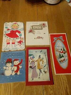 Vintage Christmas Card Unused lot of 5 cards  girl trifold, glitter, flocked
