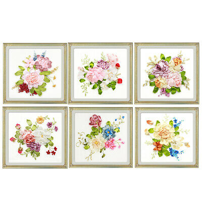 Silk Ribbon Embroidery Kits DIY Flower Painting Kit Stamped Cross Stitch