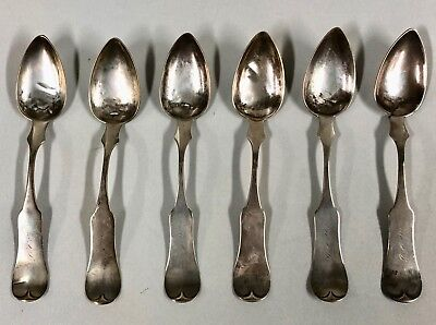 "Antique Set of 6 Coin Silver Spoons E&D Kinsey FIDDLE 6-3/16"", 17g to 18g"