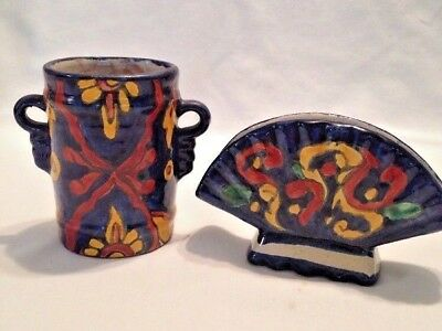 Lot of 2 TALAVERA Hand Painted Mexican Ceramic Pottery Table Decor