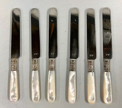 """Set of 6 Antique Towle 7-1/2"""" Desert Knives with Mother of Pearl Handles"""