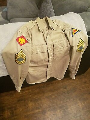 WW2 Officer's Sergeant First Class Double Breasted Shirt w 45th Division Patches