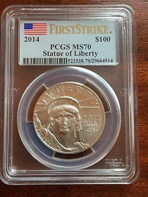 2014 $100 Platinum Eagle. Statue of Liberty PCGS MS70 First Strike. NO RESERVE!