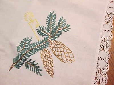 "Hand Embroidered 30"" Sq Cotton Tablecloth Topper Winter Pine Cones Candles Lace"