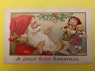 Vintage Early 1900's Embossed Christmas Postcard Santa with Elf and Little Girl
