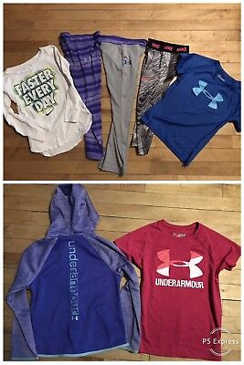 Girls Under Armour Nike Lot Of 7 Pants Tees Hoodie Outfits Sz 5 6