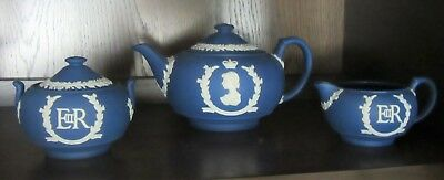 RARE 1953 WEDGWOOD Royal Blue jasperware teapot sugar creamer Queen Elizabeth II