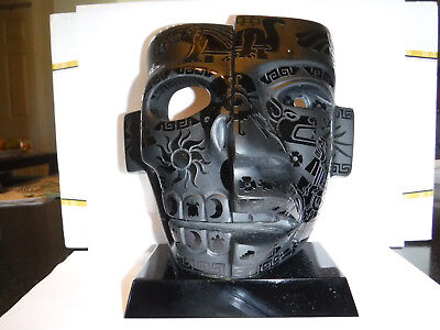 Teotihuacan Duality Life & Death Mask Obsidian Stone Art Mexico Mexican Aztec