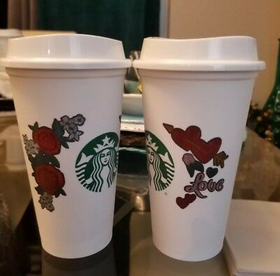 NEW EDITION 2019 Set of 2 Starbucks Reusable 16 OZ Cup Valentines Day