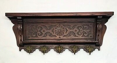Antique English Oak Wall Shelf Kitchen Copper Pot Coat Rack  Brass Cherub Hooks