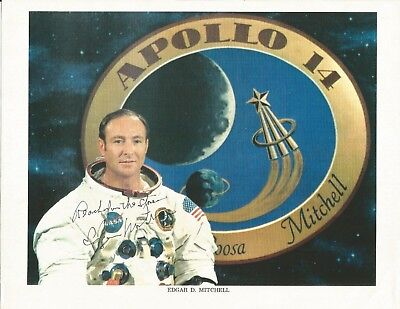 Edgar Mitchell (Apollo 14 moonwalker) signed WSS photo