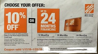 Home Depot Coupon 10% Off W/HD Credit Card or Financing Store Online 1/17-1/23