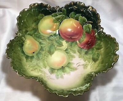 Antique Large Tirschenreuth Bavaria Porcelain Fruit Bowl Signed