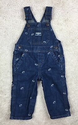 OSH KOSH Toddler Boys 12 Months Overalls Denim Embroidered Footballs