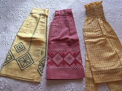 3 Vintage Gingham Check Half Aprons Smocked & Cross-Stitch 2 Yellow, 1 Red