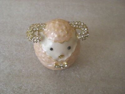 Cute Pink Enamel Lamb with Jeweled Bow and Horns Hinged Trinket Box New