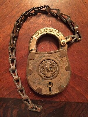 Vintage Yale & Towne Padlock Brass Old Antique Lock Oval With Chain No Key Usa