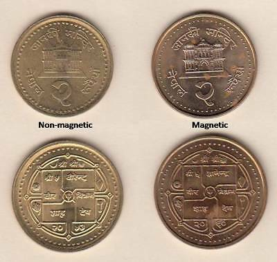 NEPAL COINS – Rs.2 – 2 VARIETIES – MAGNETIC AND NON MAGNETIC – KM#1151, 1151.1