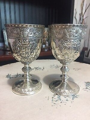Corbell and Co. Silver Plated Ornate Goblets Altar Chalices