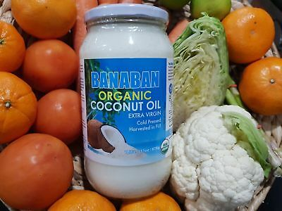 Banaban Virgin COCONUT OIL Pure Organic & Cold Pressed Six One Lit Glass bottle
