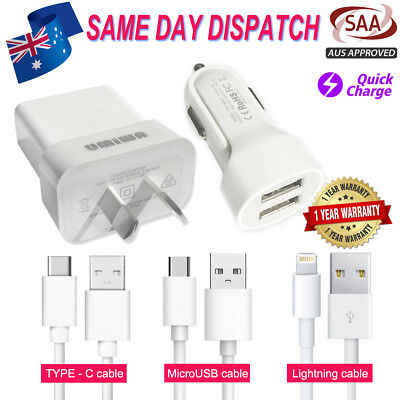 Ac Wall Plug Adapter Car Charger Usb Data Cable-Iphone/Samsung/Huawei/Sony/Oppo