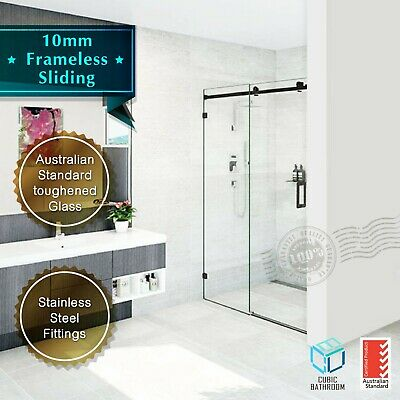 10mm Frameless Sliding Screen Matte Black (1150-2000)mm Wall To Wall (BLK)