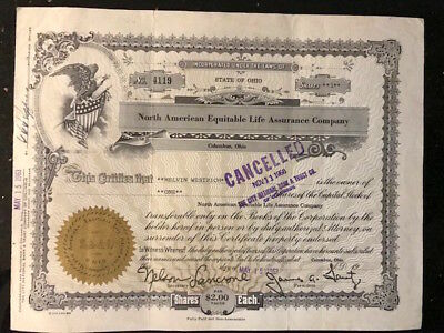 """Vintage Stock Certificate """"North American Equitable Life Insurance Company"""" 1963"""