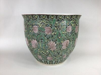 20th C. Chinese Famille Noir Fish Bowl / Planter / Jardiniere