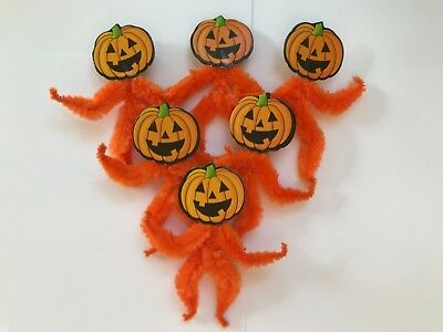 Chenille Halloween ornaments, vintage pumpkin, feather tree ornament