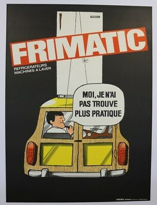 AFFICHE ANCIENNE ORIGINALE AUSTIN MINI COUNTRYMAN CLUBMAN WOODY FRIMATIC frigo