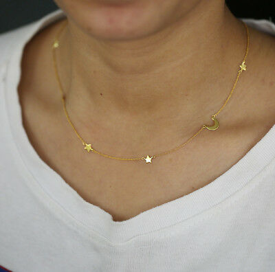 14k Gold Delicate Chain Stars n Moon Station Necklace Jewelry for Women Gift
