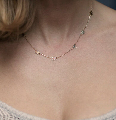14k Gold Delicate Snowflakes Station Chain Necklace Jewelry for Women Gift