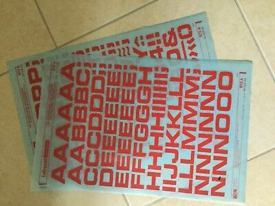 Letraset 72pt in Microgramma Bold Red Two sheets